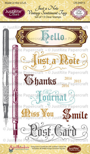 Just a Note Vintage Sentiment Tag Clear Stamps