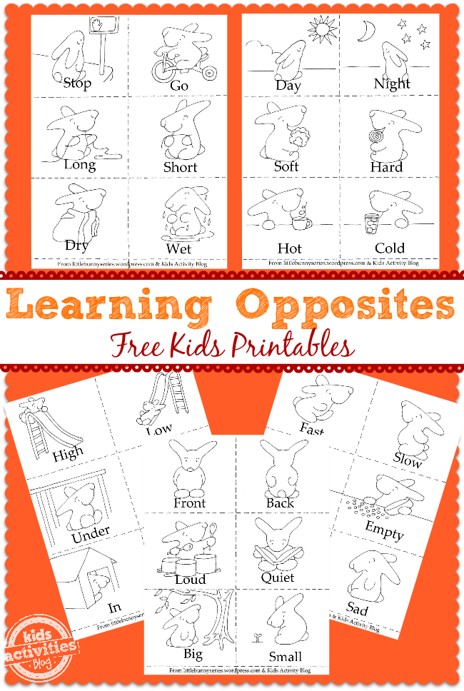 Learning Opposites FREE Preschool Printable