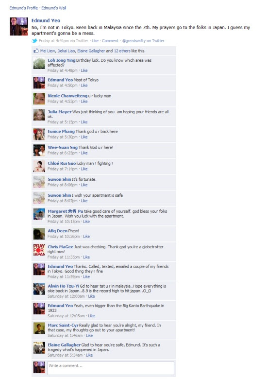 Friends and family on Facebook regarding the 2011 Japan Earthquake