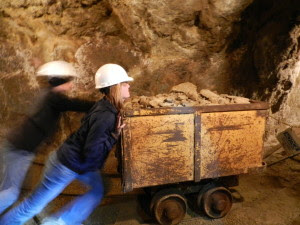 working in a gold mine