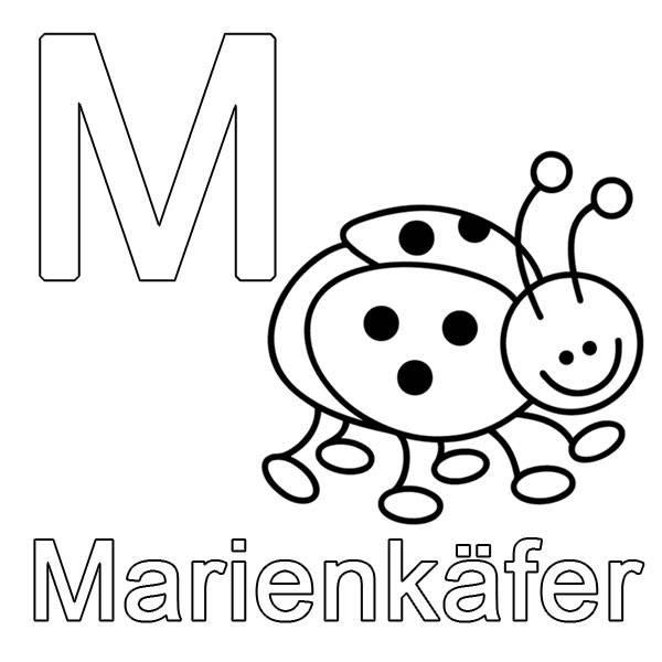 Ausmalbild Buchstaben lernen: M wie Marienk\u00e4fer kostenlos ausdrucken