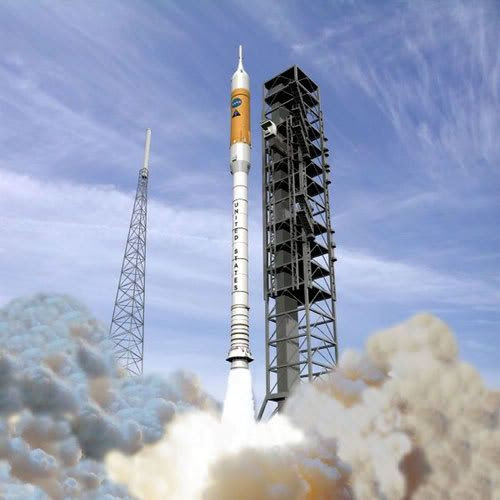 An artist's concept of an ARES I rocket launching into the sky.