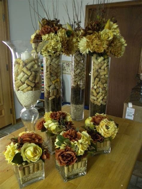 Wine Cork Centerpieces for Wedding but with purple