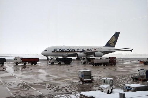 An A380 at CDG