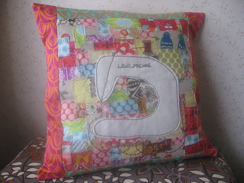 Scrappy Patchwork  Love Machine Pillow
