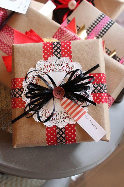 ❥Washi tape gift wrap