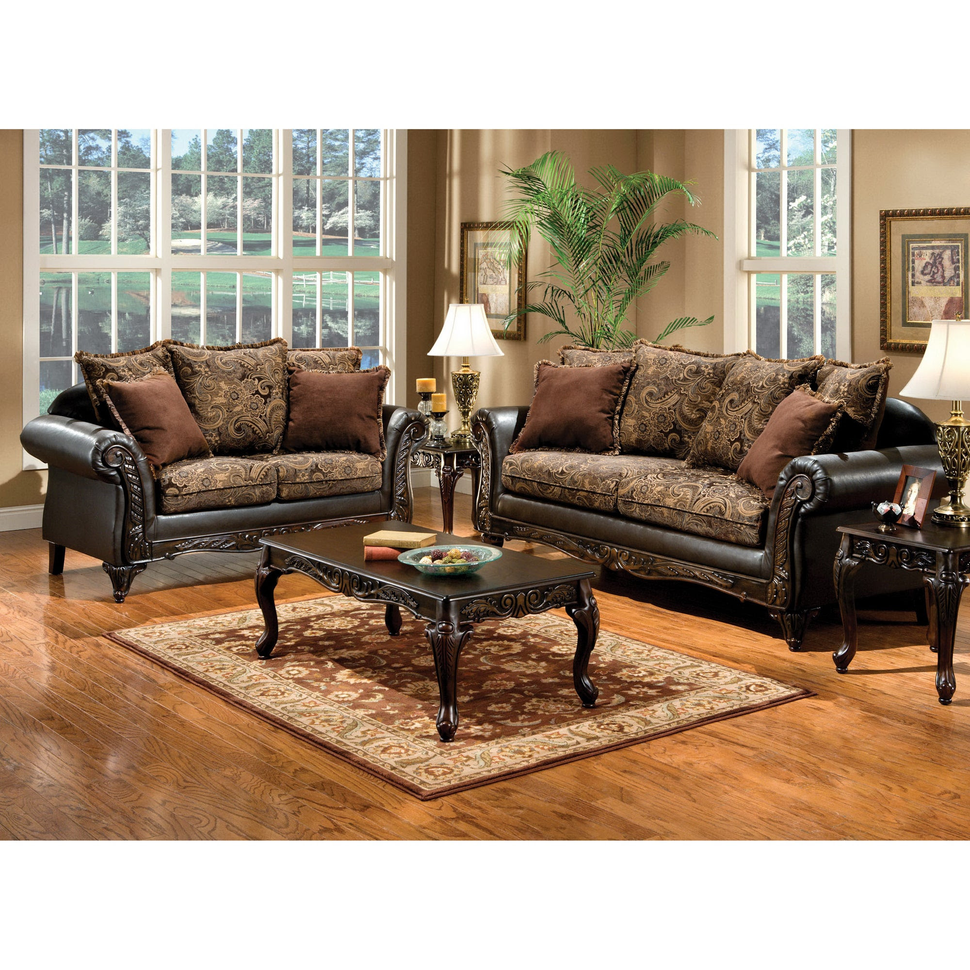 Furniture of America Ruthy Traditional Dark Brown Floral ...