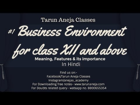 Class Lectures : By Tarun Aneja: #1 Business Environment
