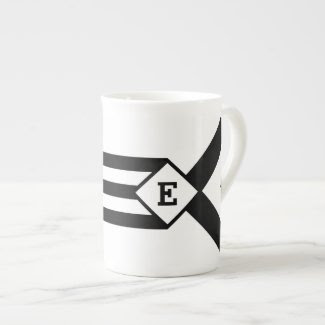 Black Stripes and Chevrons with Monogram on White Tea Cup