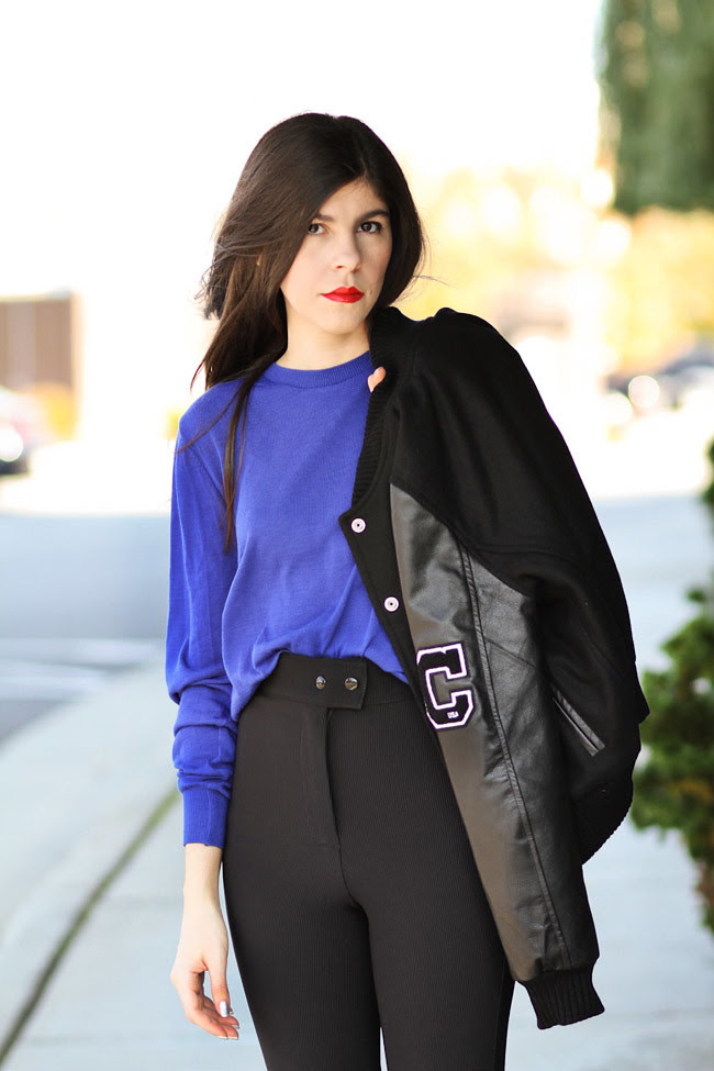 American Apparel riding pants, Aldo dalmatian print loafers, Varsity Jacket with Leather sleeves, Fashion Outfit