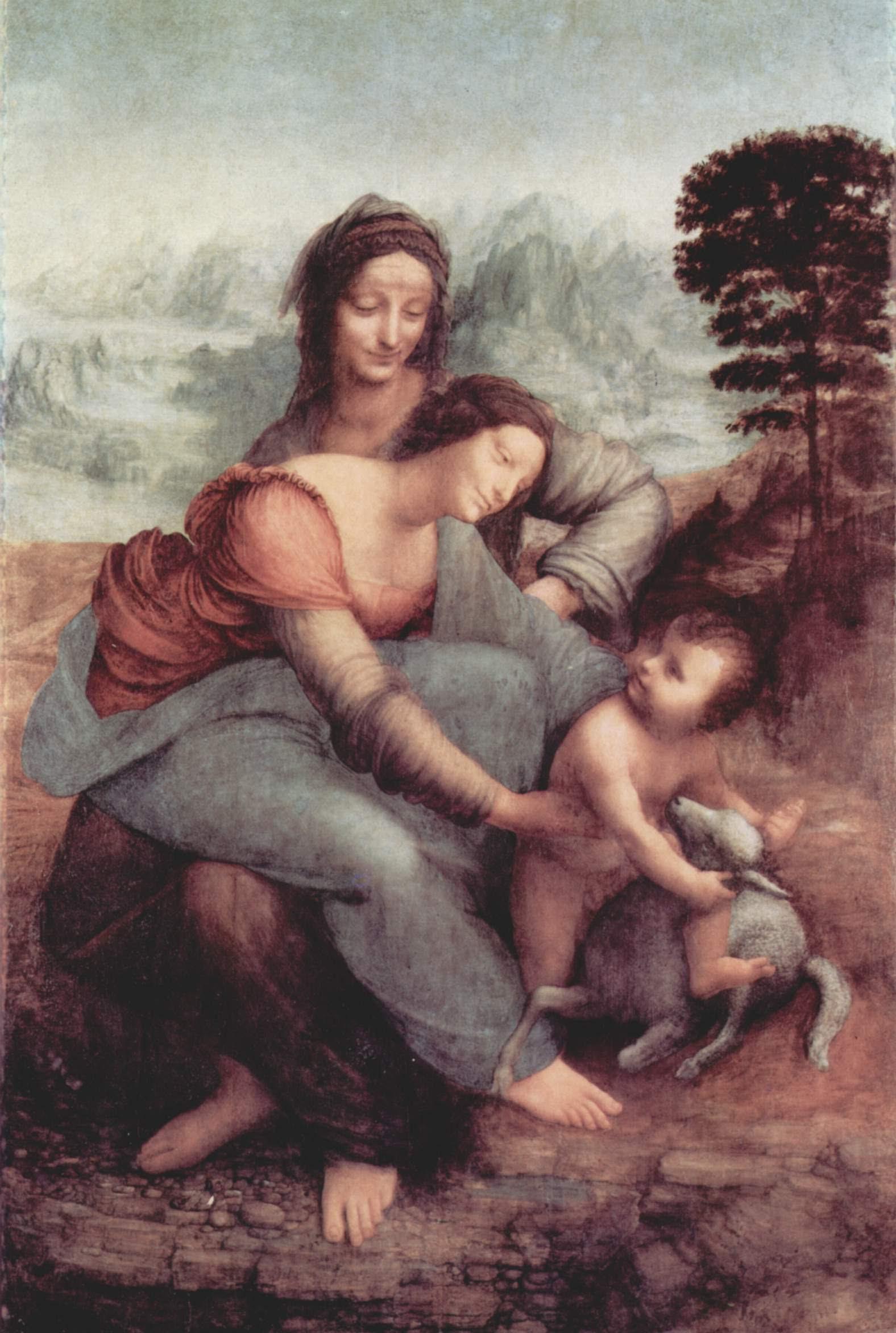 Леонардо да Винчи. Святая Анна с Мадонной и младенцем Христом