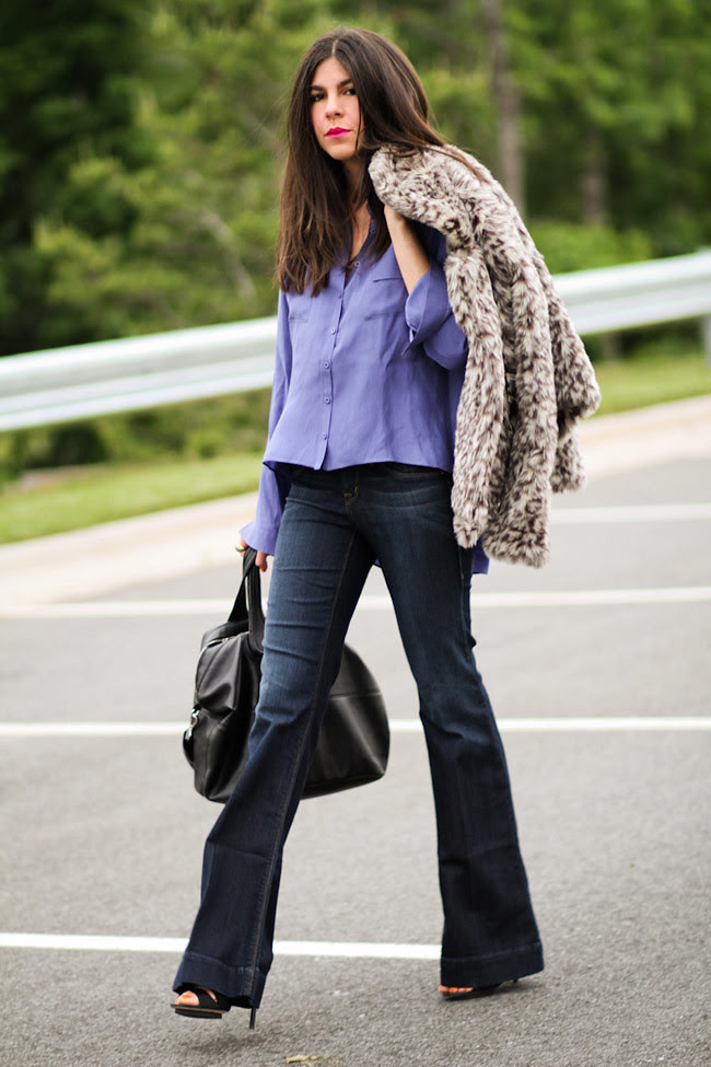 Leopard fur, Bell bottom jeans, LAMB Sandals, Fashion Outfit, Givenchy Nightingale bag
