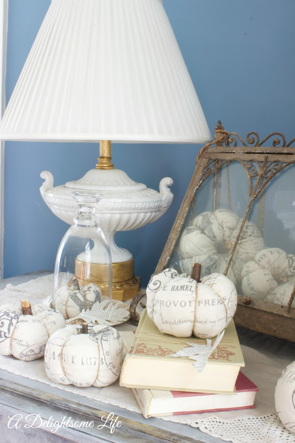 Vintage, Paint and more... A Delightsome Life's French Stamped Fabric Pumpkins