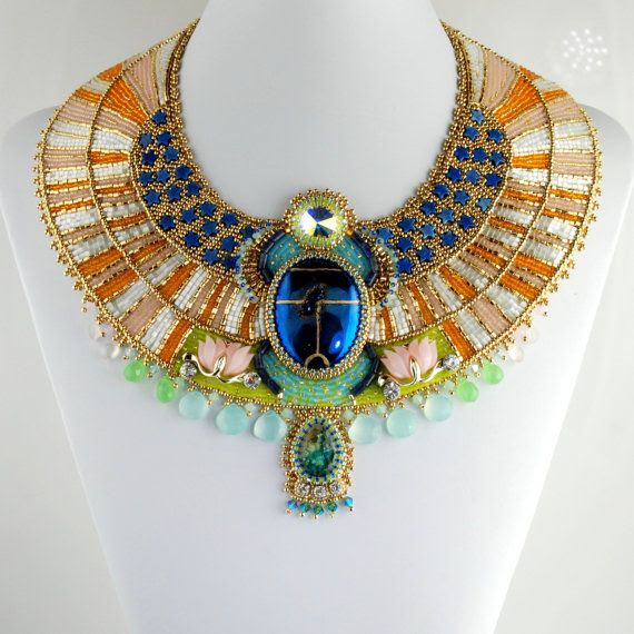 Aether  Egyptian Scarab Necklace Bead by LuxVivensFashion on Etsy, $1500.00-by Doro Soucy #egyptomania