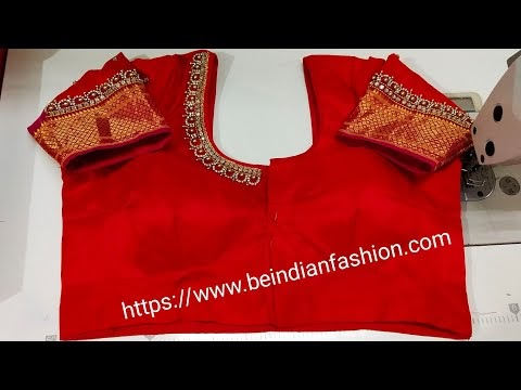 Stitching of a beautiful back neck design of blouse/embroidery blouse de...