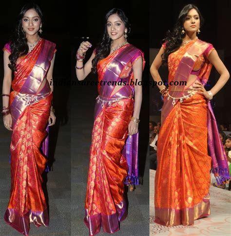 orange and purple pattu saree   Google Search   sarees