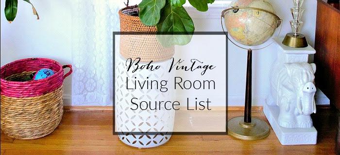 Boho Vintage LIving Room Source List