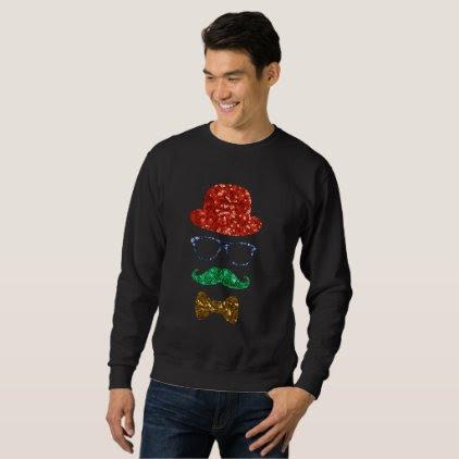 christmas hipster mustache mens sweatshirt
