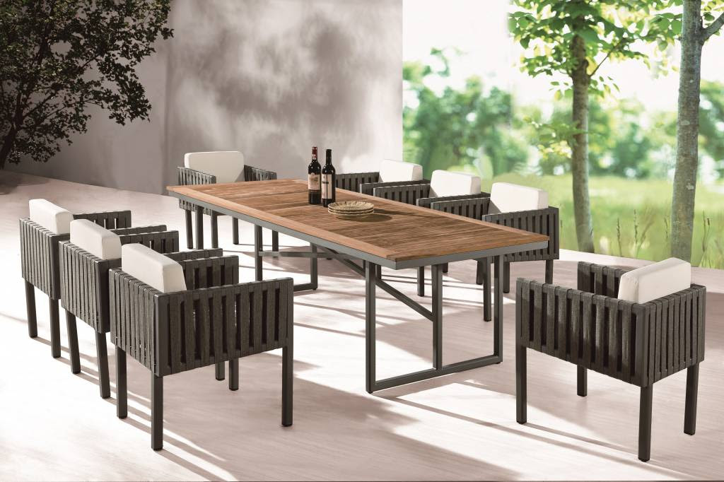 Garnet Modern Outdoor Dining Set For 8 With Side Straps Icon Outdoor Contract