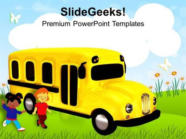 Baby Time To Go School In Bus Ppt Template Powerpoint Template