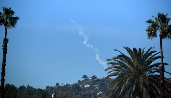 The smoke plume from the Delta IV Heavy rocket's launch from California's Vandenberg Air Force Base is visible from my house in Pomona (189 miles away)...on January 19, 2019.