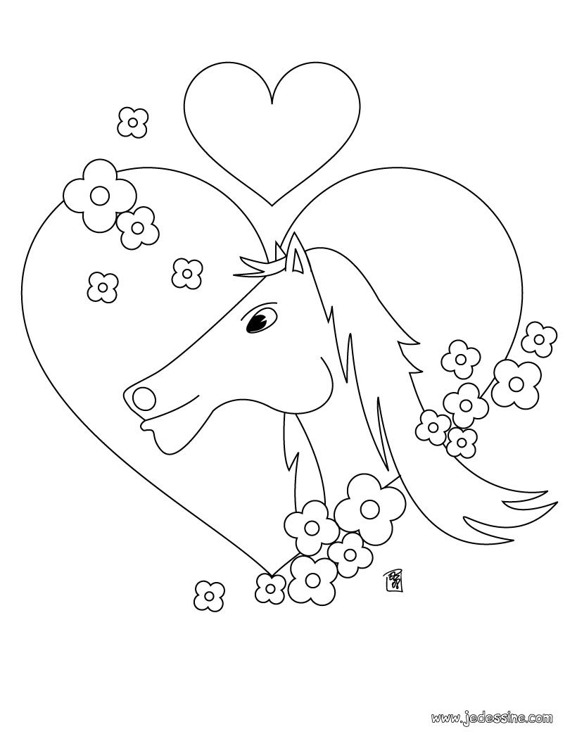 Coloriage Cheval dans un coeur