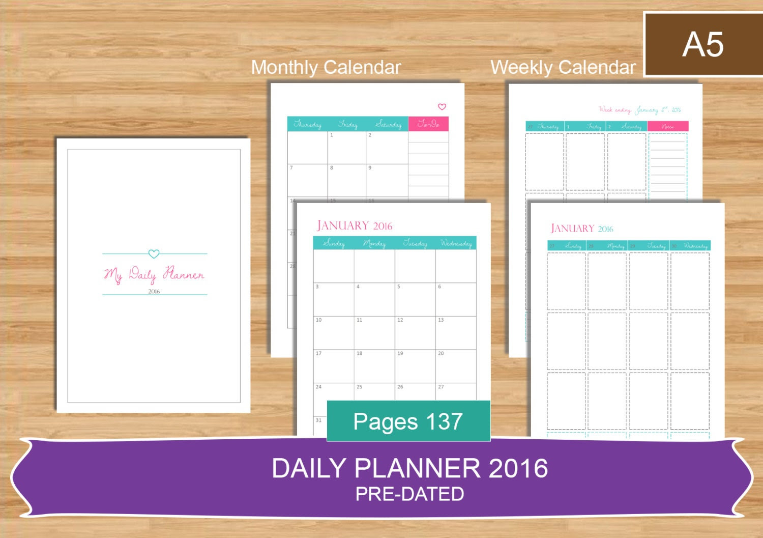 A5 Daily Planner 2016 PDF Everyday Planner by MadeInCraftadise