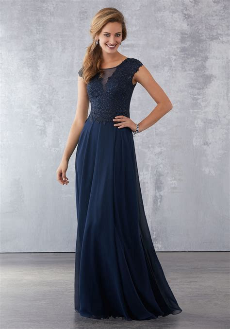 Chiffon Social Occasion Dress with Beaded Lace Appliqués