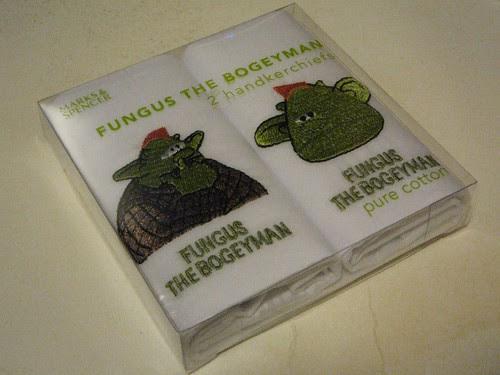 Fungus The Bogeyman hankies by Ollie Jay
