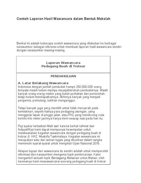 Contoh Makalah Hasil Wawancara Kewirausahaan Pdf Kumpulan Contoh Makalah Doc Lengkap