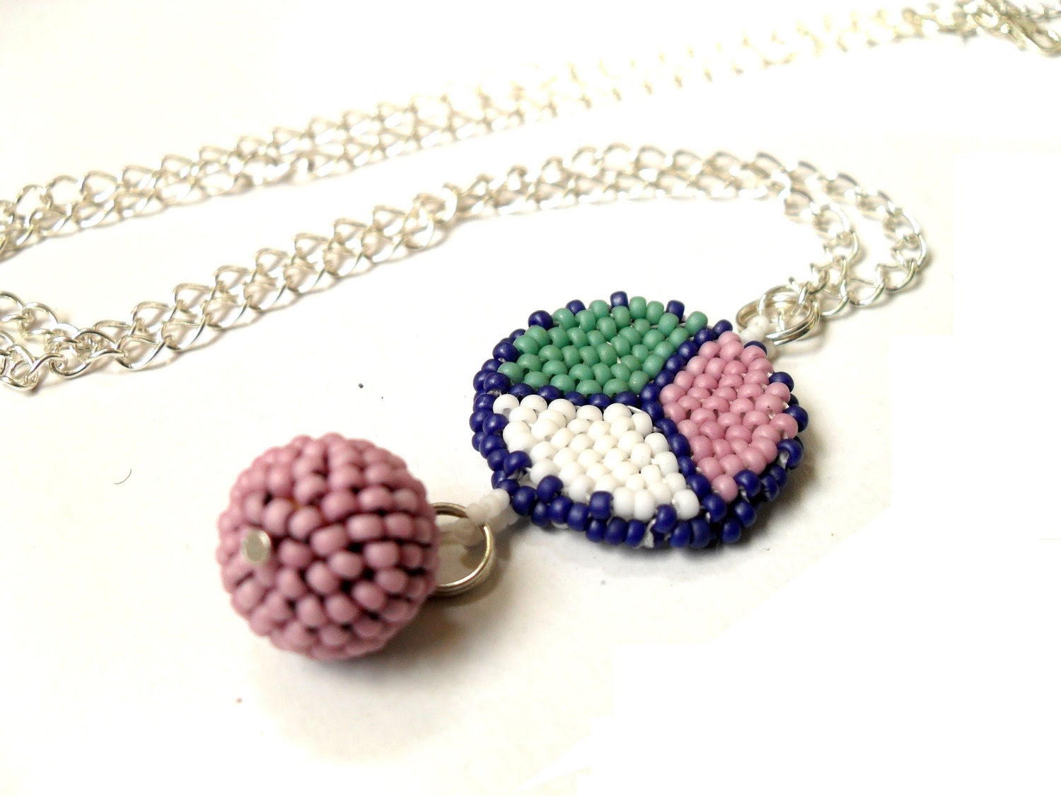 Necklace beaded two faced,  long necklace,  two faced pendant, round peyote pendant