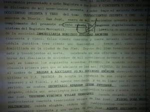 Imagen del protocolo con el nombramiento de Wedel en la sociedad.