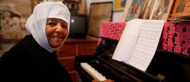 Emahoy Tsegue-Mariam Gebru at the piano. Photo by Tal Shachar/Jerusalem Season of Culture