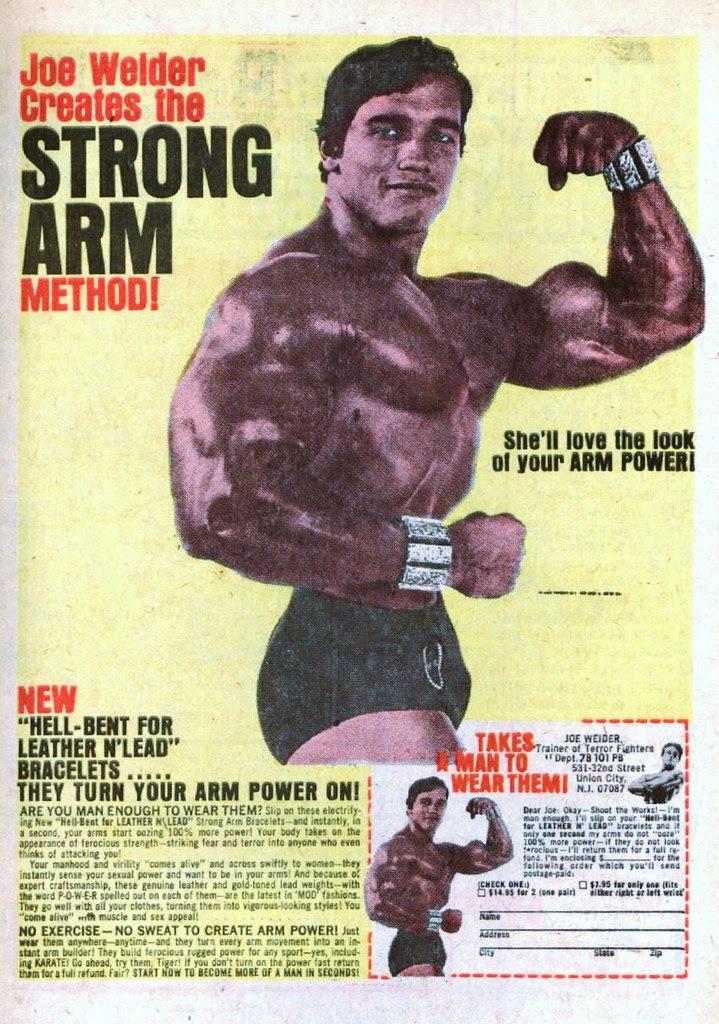 Joe Welder Strong Arm Bracelets 1971 arnold schwarzenegger bodybuilding ad