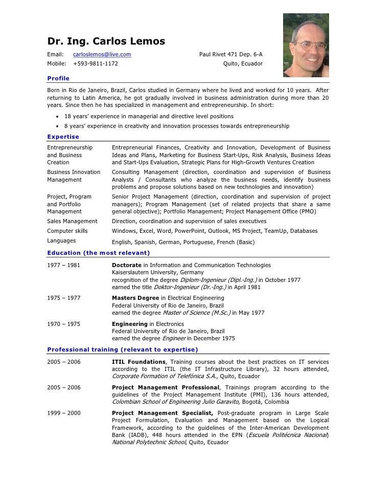 Resume Format: Presentation Cv In English