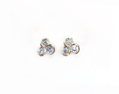 Vintage Blue Rhinestone Earrings, Silver Clip Ons - VintagePennyLane