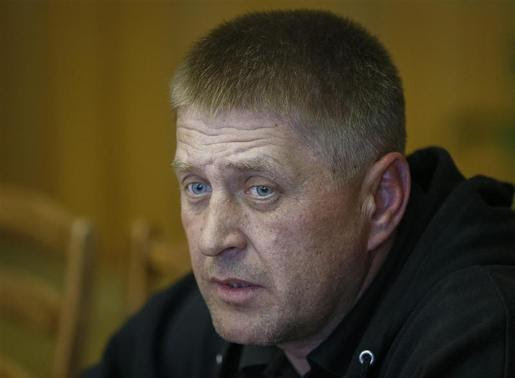 The self-styled mayor of Slaviansk Vyacheslav Ponomaryov attends a news conference in the mayor's office in Slaviansk April 26, 2014. REUTERS-Gleb Garanich