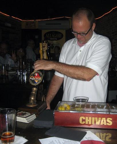 Bruce pulls a pint
