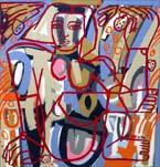 Έργα από την Αμερική Martin, Σύμφωνα με το Mango Tree, λάδι και ακρυλικό σε μουσαμά, 65 x 62 ίντσες, η οποία διατίθεται από JoAnne Artman Gallery στη Laguna Beach, Καλιφόρνια