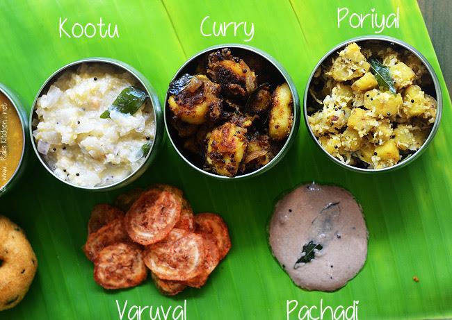 Cabbage kootu, seppankizhangu curry, vazhakkai poriyal, nellikkai thair pachadi, vazhakkai varuval