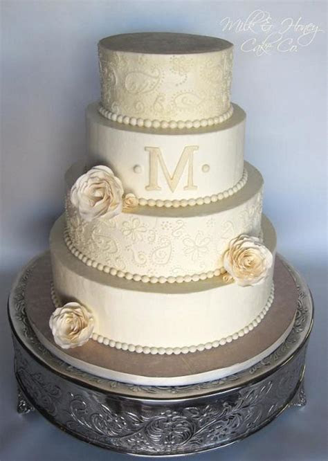 All Buttercream Paisley Piped Off White Wedding Cake With