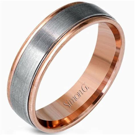 Simon G. White and Rose Gold Two Tone Men's Wedding Ring