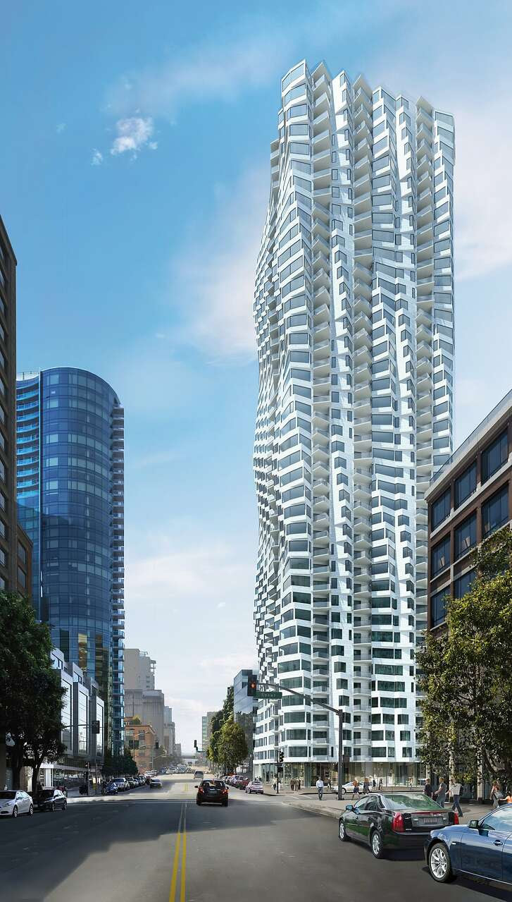 The proposed residential tower at 160 Folsom St. by architect Jeanne Gang for developer Tishman Speyer. It would rise one block inland from the Embarcadero.