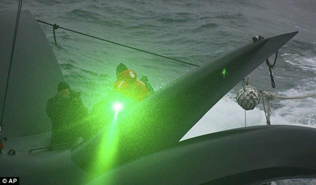 Activists fire a green laser