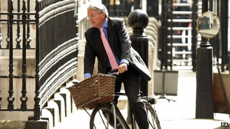 Andrew Mitchell arriving at Downing Street on his bicycle
