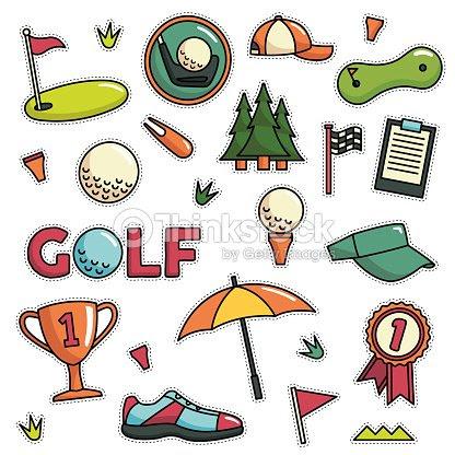80 年代 90 年代ゴルフ テーマ ファッション漫画イラスト セット