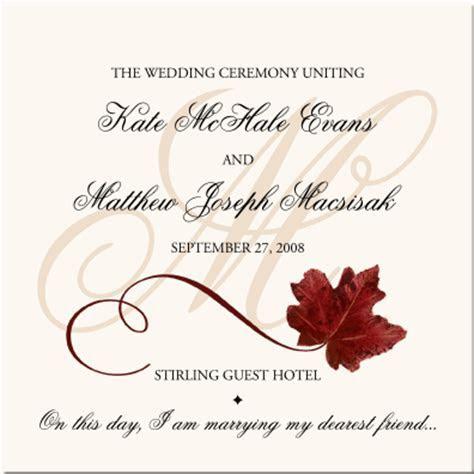 Red Maple Leaf Autumn Wedding Program Fall Wedding Program