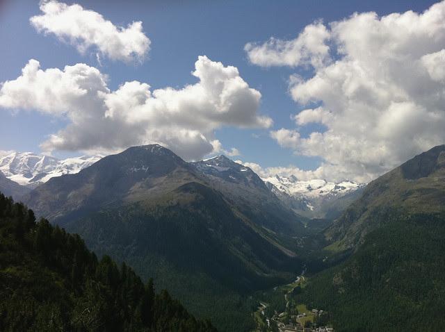 Blick von Muottas Muragl in Richtung Bernina