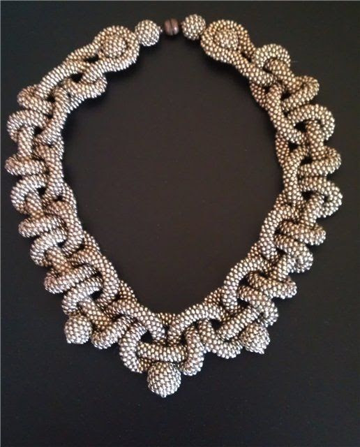 Necklace | Artist ?.  - crocheted beaded rope necklace. by Allthatsbeautiful