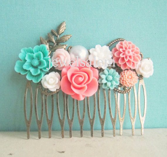 Mint Green Coral Wedding Hair Comb Peach Pink Aqua Turquoise Flower Floral Head Piece Bridal Hair Pin Pastel Colors Bridesmaid Gift